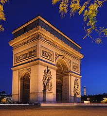 View of the Arc de Triomphe at night